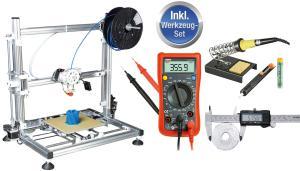 Komplettangebot: Der neue 3D-Drucker bei Reichelt wird mit einem Werkzeugsatz geliefert. (Bild: Reichelt Elektronik)