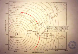 Diese von der malaysischen Regierung veröffentlichte Karte zeigt die Linien, die sich aus der Auswertung der Pings ergaben.