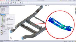 Simulation auf Knopfdruck ist ein wichtiges Thema für die CAD-Anbieter - hier ein Beispiel von SolidWorks (Bild: SolidWorks)