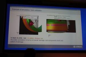 Airbus-Keynote bei der Simulia Community Conference: Eine verblüffende Übereinstimmung zeigt die Überlagerung eines Vogelschlagversuchs mit den Berechnungsergebnissen.