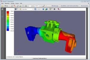 Als PDF lassen sich die komprimierten Simulationsergebnisse verteilen und archivieren (Bild CADFEM).