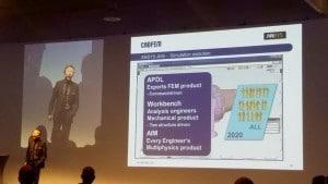 Erke Wang von Cadfem präsentierte einen Ausblick auf Ansys AIM, die nächste Generation der Ansys-Multiphysiklösung.