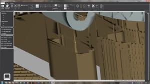 Auch nicht besser: Die neueste Cubify-Version (hier die Druckbahnenansicht) setzt mehr Stützen, aber nicht an der untersten Stelle.