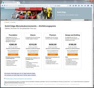 """Vier """"Ausstattungsvarianten"""" stehen bei der Subscription von Solid Edge zur Auswahl (Bild: Siemens)."""
