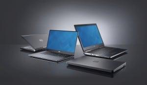 Komplett neue Gehäuse für die mobile Workstations von Dell. Die 7710 ganz rechts, das Einsteigermodell 3510vorngeschlossen, die Precision 5510 offen links und die 7510 im Hintergrund..