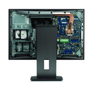 Das Innenleben der HP Z1 G3 ist nach dem Abnehmen der Rückwand zugänglich.