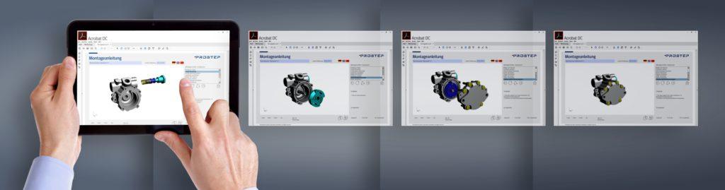 Schritt für Schritt leitet die 3D-PDF-Dokumentation durch den Montageprozess.