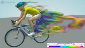 Die Simulation eines tretenden Radlers wurde mit STAR-CCM+ von CD-adapco durchgeführt (Bild: Videoschnappschuss)