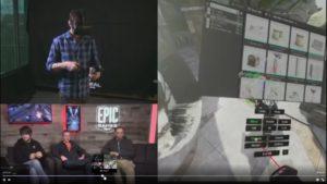 Der Virtual Reality-Spieleentwickler in der Unreal Engine 4 VR arbeitet mit einem Tablet-ähnlichen Werkzeugkasten (Screenshot)