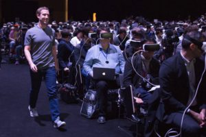Die Zukunft der Arbeit? Ich hoffe nicht (Journalisten auf der Samsung-Pressekonferenz auf der Mobile World mit Stargast Mark Zuckerberg (Bild: Zuckerberg/Facebook).
