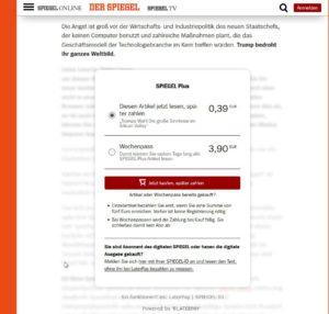 Auch bei Spiegel Online sind immer mehr Artikel kostenpflichtig.