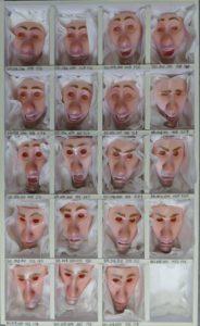 Für jeden Gesichtausdruck wurden mehrere Gesichter gedruckt.