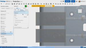 Die Breite der Aussparungen für die Zylinder referenziert auf die Zylinder (Alle Bilder: Screenshots aus dem Onshape-Video).