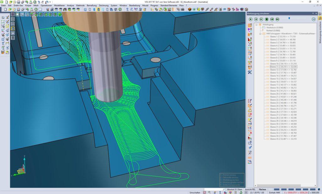 Die Waveform-Bearbeitungsstrategie im neuen Visi 2017 R1 trägt mehr Material am und schont dabei das Werkzeug (Alle Bilder: Mecadat).