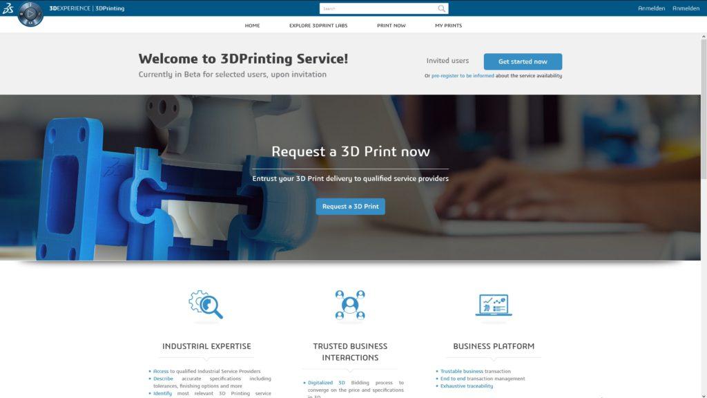 Dassault Systèmes' 3DPrinting Service ist erst der Anfang eines breiten Angebots auf der Transaktionsplattform (Screenshot von der Dassault-Homepage).