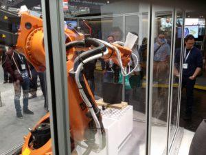 3D-druckender Roboter von Livrea auf dem HMI-Stand von Autodesk