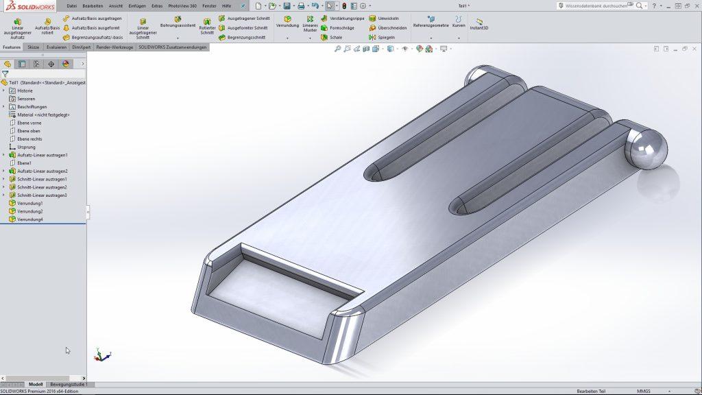 SolidWorks-Modell des Aufstellfußes