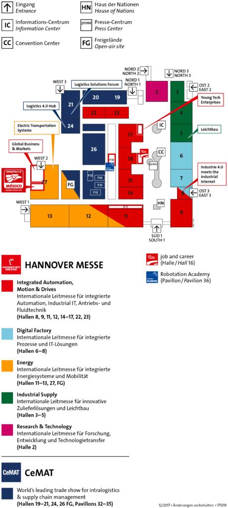 Hallenplan Digital Factory auf der Hannover Messe.
