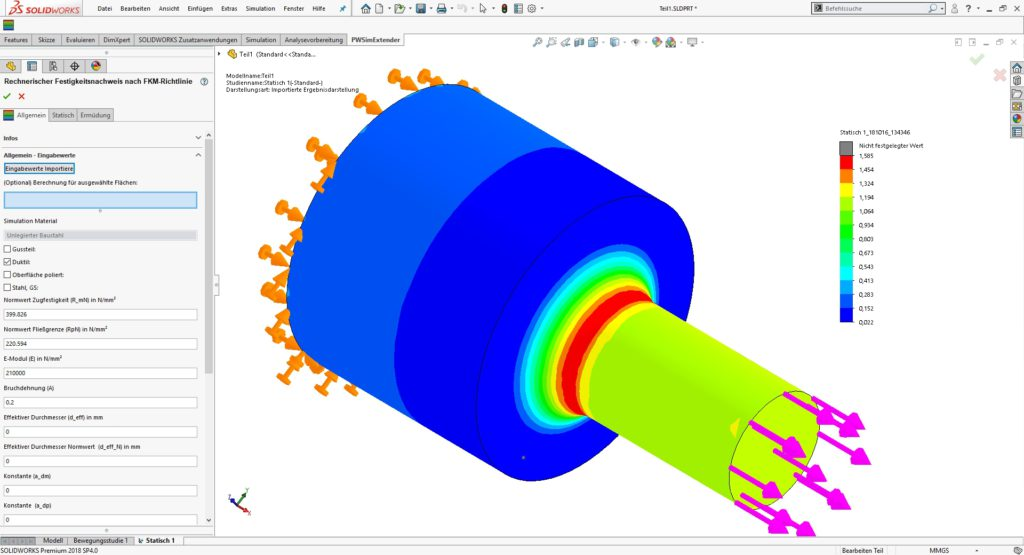 FKM-Richtlinie in SolidWorks mit PowerWorks SimExtender SolidLine
